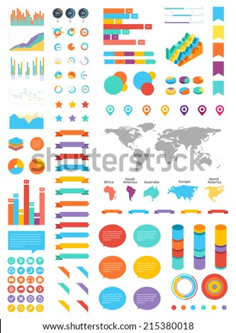 Modern UI flat vector kit web design. Adaptive web elements. Ribbons, forms, tables, graphics, speech bubbles, pie charts, forms, interface elements, text fields, world map vector, world continents. - stock vector