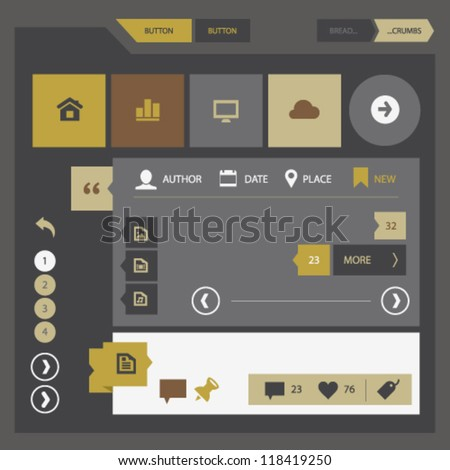 Modern UI kit for mobile devices and contemporary interfaces - stock vector
