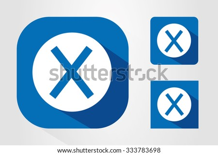 Modern UI mobile app icon symbols with letter X. - stock vector