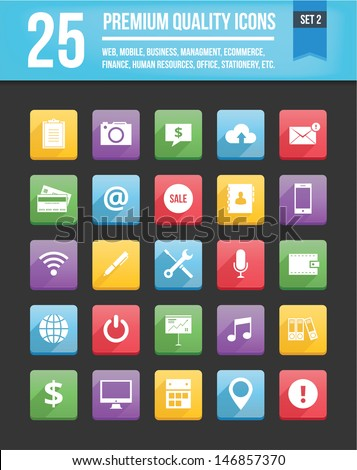 Modern Universal Vector Icons for Web and Mobile Set 2 - stock vector