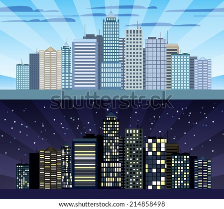 Modern urban building cityscape skyline day and night tileable borders set isolated vector illustration - stock vector