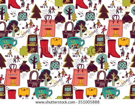 Modern Urban City shopping landscape color seamless pattern. People on the street and shops. Color vector illustration. EPS8 - stock vector