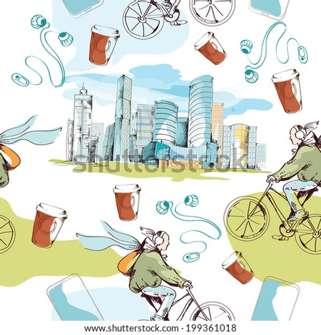 Modern urban city sketch seamless pattern with skyscrapers and bicyclists vector illustration - stock vector