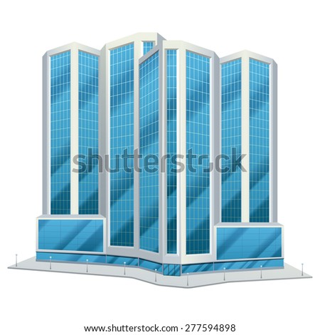 Modern urban glass tower design city downtown office centre tall buildings day skyline abstract flat vector illustration - stock vector
