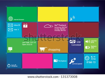 Modern user interface. Color bright squares with icons - stock vector