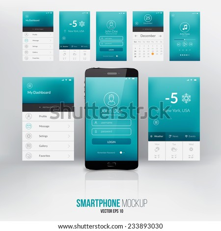 Modern user interface screen template for mobile smart phone or web site. Vector - stock vector