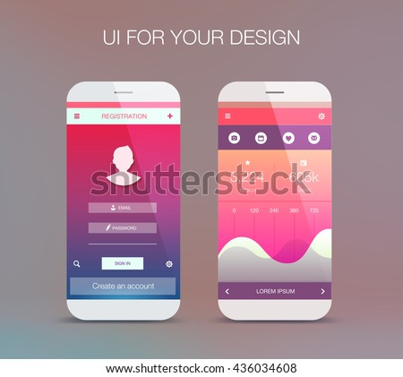 Modern user interface (ux, ui) screen template for mobile smart phone or web site.  - stock vector