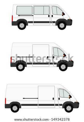 Modern van set on white background. Place for any text - stock vector