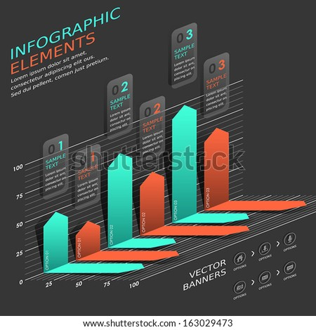 modern vector abstract bar chart infographic elements