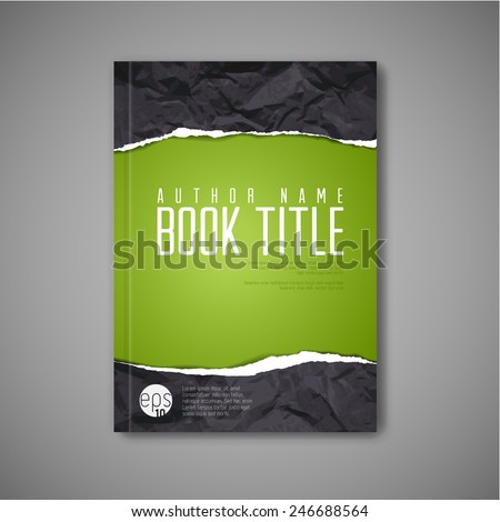 Modern Vector abstract book cover template with teared paper - stock vector