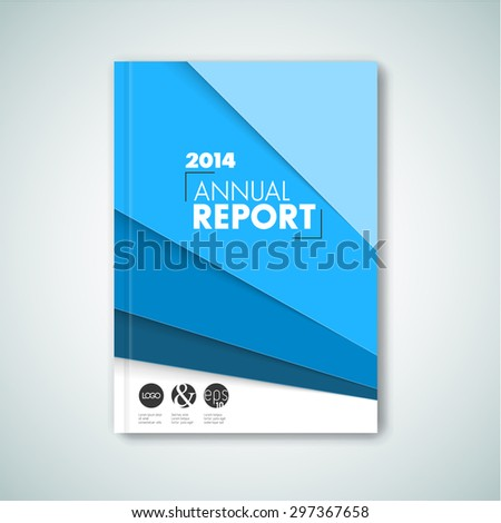 Modern Vector abstract brochure / book / flyer design template - blue version - stock vector