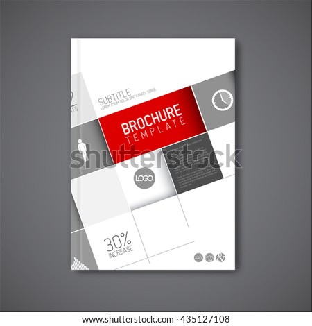 Modern Vector abstract brochure / book / flyer design template with big mosaic - red version - stock vector