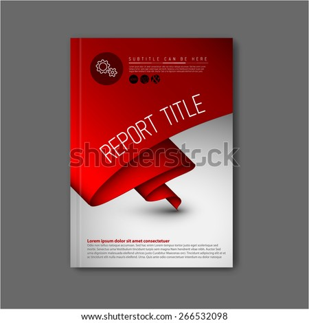 Modern Vector abstract brochure / book / flyer design template with dark red paper - stock vector