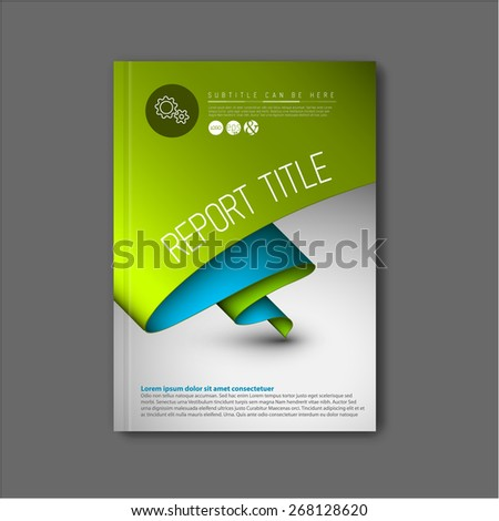 Modern Vector abstract brochure / book / flyer design template with green and blue paper - stock vector