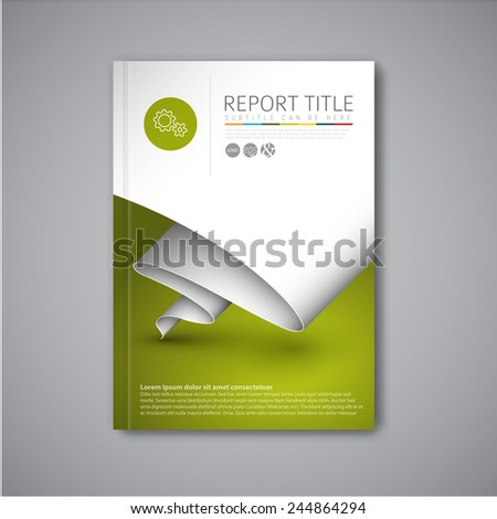 Modern Vector abstract brochure / book / flyer design template with paper - stock vector