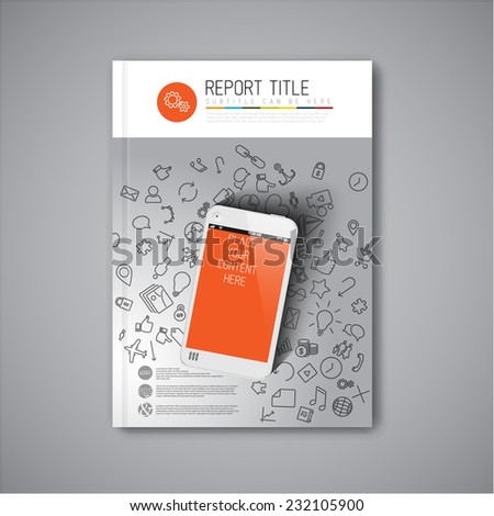 Modern Vector abstract brochure / book / flyer design template with smartphone - stock vector