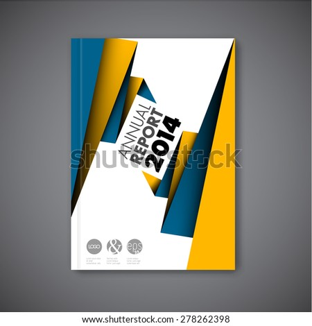 Modern Vector abstract brochure / book / flyer design template with yellow and blue paper - stock vector