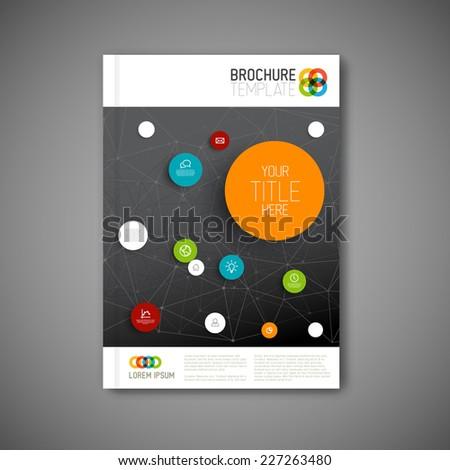 Modern Vector abstract brochure, report or flyer dark design template  - stock vector