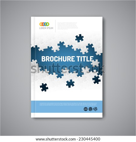 Modern Vector abstract brochure, report or flyer design template with puzzle pieces - stock vector
