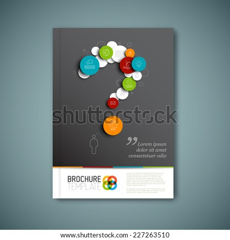 Modern Vector abstract brochure, report or flyer design template with question mark - stock vector