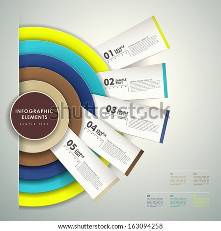 modern vector abstract 3d paper infographic elements - stock vector