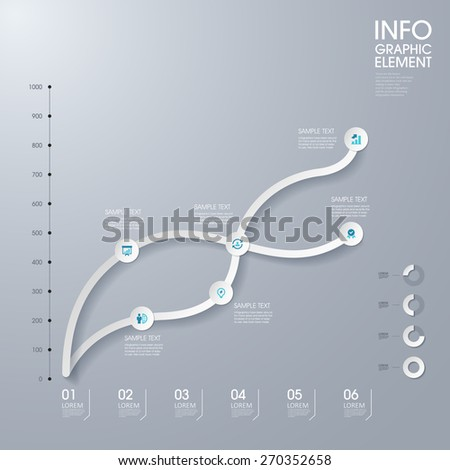 modern vector abstract line chart infographic elements.can be used for workflow layout, diagram, number options, web design.  illustration ,EPS10 - stock vector