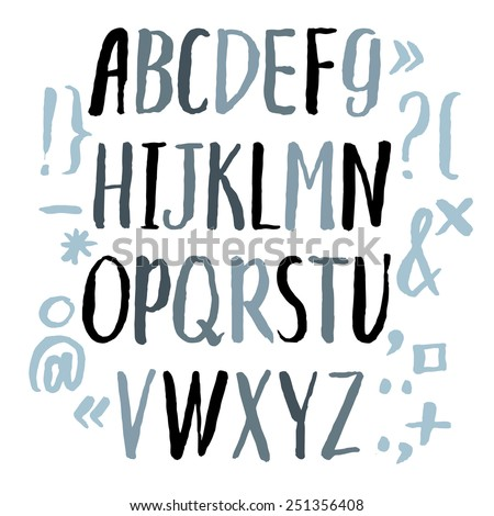 Modern Vector Alphabet. Hand drawn letters written by brush. Painted Alphabet. - stock vector