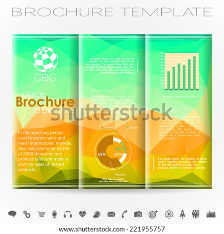 Modern Vector Brochure Design Template with Triangle Pattern, Collect Icons and Graphs.