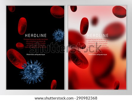 Modern vector brochure, report or flyer design template. Medical industry, biotechnology and biochemistry concept. A4 scientific medical designs.  Letter Cover Templates Collection. - stock vector