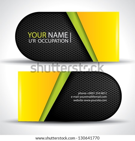 Modern vector business card - green, yellow and black colors with carbon texture - stock vector