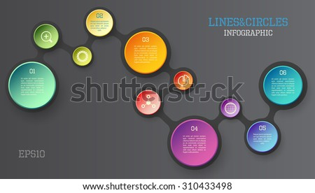 Modern vector circle and line infographic elements in bright colors - stock vector