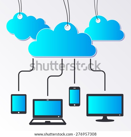 Modern vector cloud computing concept with connected devices - stock vector