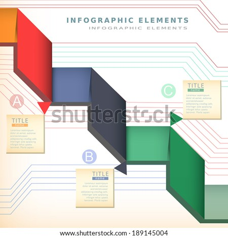 modern vector color origami paper infographic elements