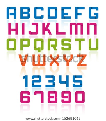 Modern Vector Colorful Alphabet with Numbers - Overlap Effect in Letter
