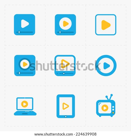 Modern vector colorfull  flat video player icons. - stock vector