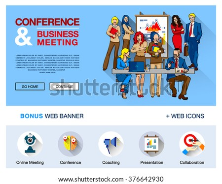 Modern vector concept illustration for website, infographics. Flat web banner template with outline bonus icons of coworking, business people training, corporate conference, sales meeting presentation - stock vector