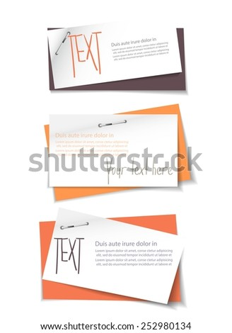 Modern vector design, paper, cardboard imitation, infographics banners, pinned shits of paper - stock vector