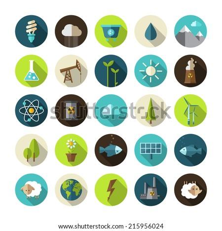 Modern vector flat design conceptual ecological icons - stock vector