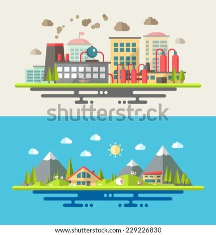 Modern vector flat design conceptual ecological illustration - stock vector