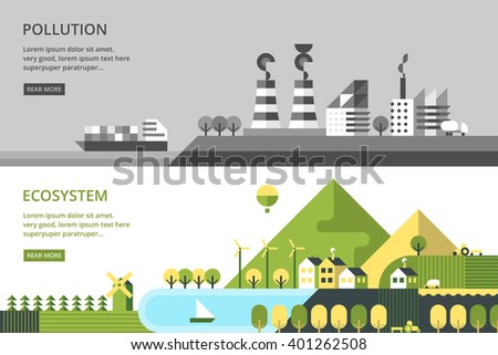 Modern vector flat design conceptual ecological illustration. Wind energy. Mountaine lake. Mountaine trail - stock vector