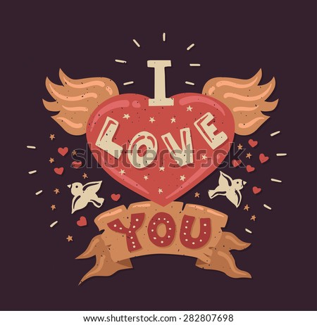Modern vector flat design hipster illustration with quote phrase I Love You - stock vector
