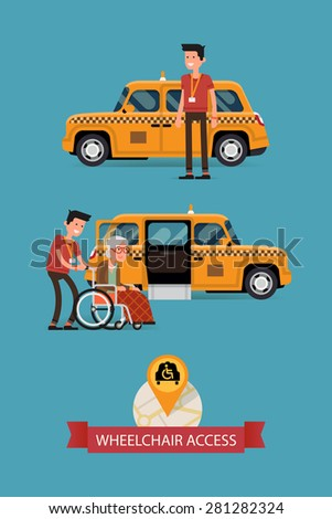 Modern vector flat design on wheelchair accessible city public transport with taxi, driver and disabled person | Cab driver assisting disabled senior woman to get into vehicle with wheelchair access  - stock vector