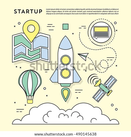 Modern Vector Flat Styled Business Icons and Elements. Startup Illustration Designed for Web and Other Decoration Surface