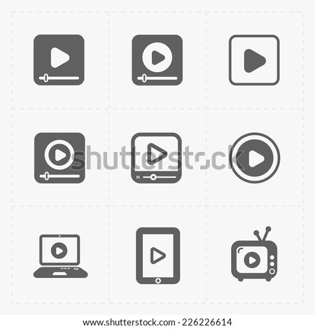 Modern vector flat video player icons. - stock vector