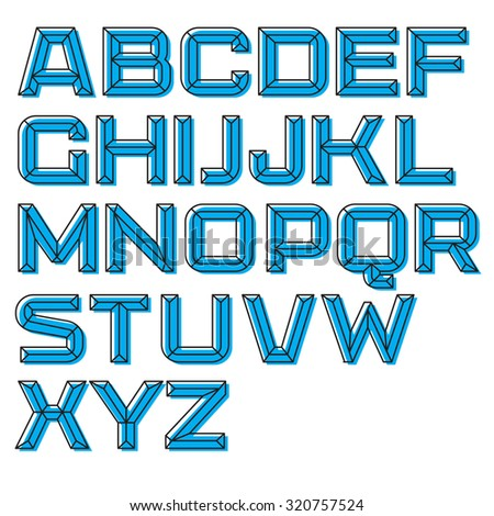 Modern vector font. Outlined letters on the blue background - stock vector