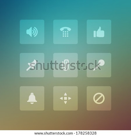 Modern vector icons set bend light effect. Vector design elements for web and mobile design. Transparent effect easy replace background.
