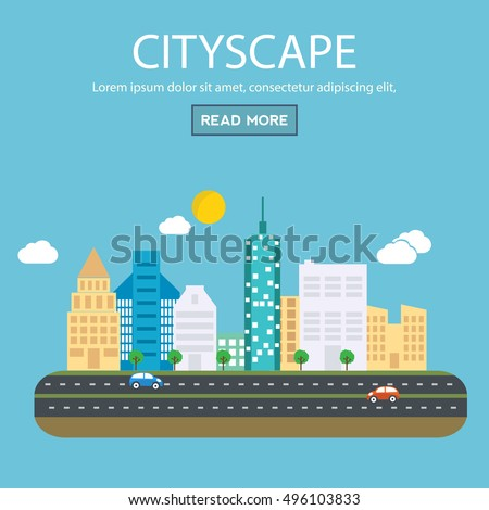 Modern vector illustration banner set of urban landscape and city life. Building icon