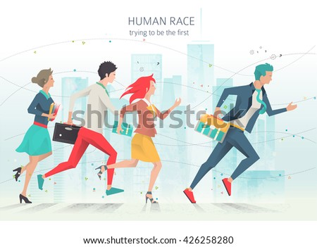 modern vector illustration business concept of competition and rivalry trying to be leader business concepts business life office