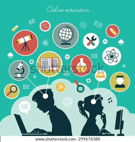 Modern vector illustration concept. Iinfographics background education. Concept of online education. - stock vector