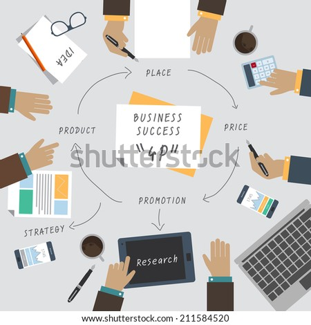 Modern vector illustration concept of teamwork analyzing project on business meeting brainstorming. Business success - stock vector